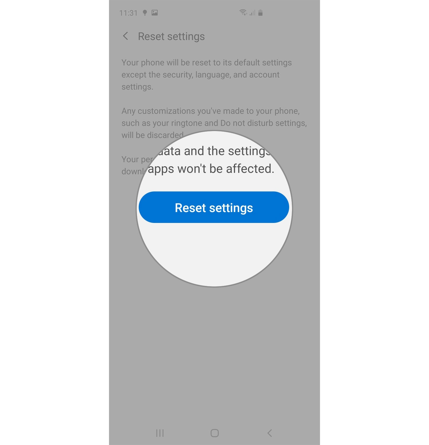 reset galaxy s20 settings button