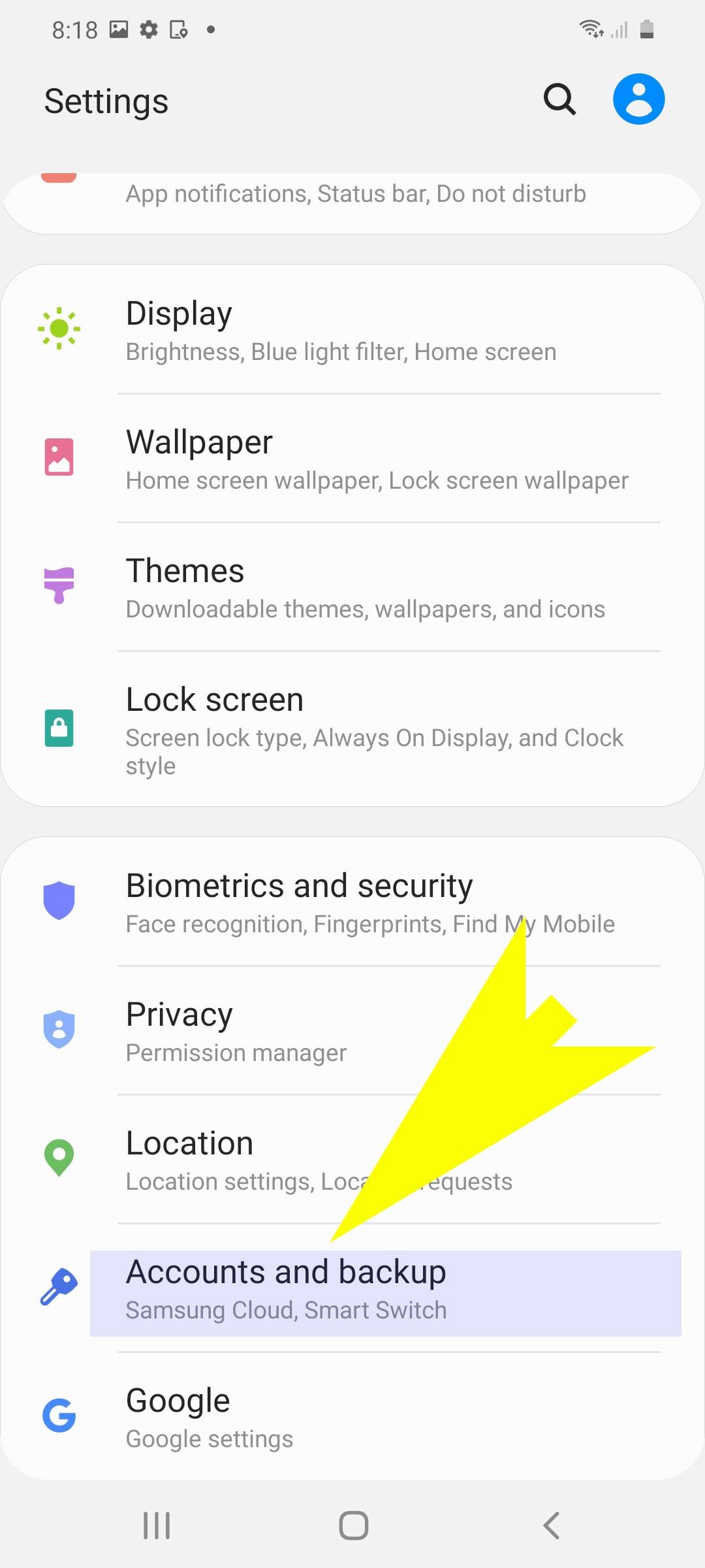 add and remove samsung account - accounts and backup menu