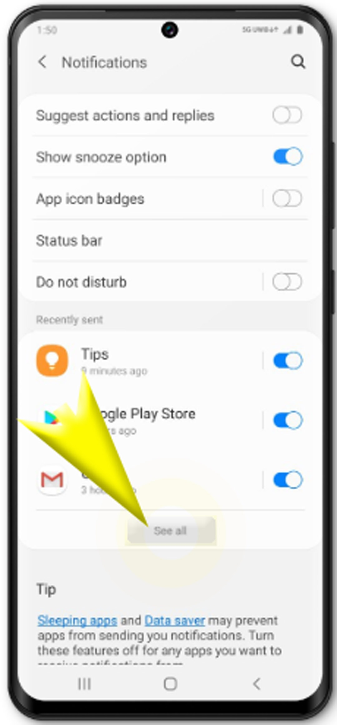 change app permissions galaxy s20 - see all notifications