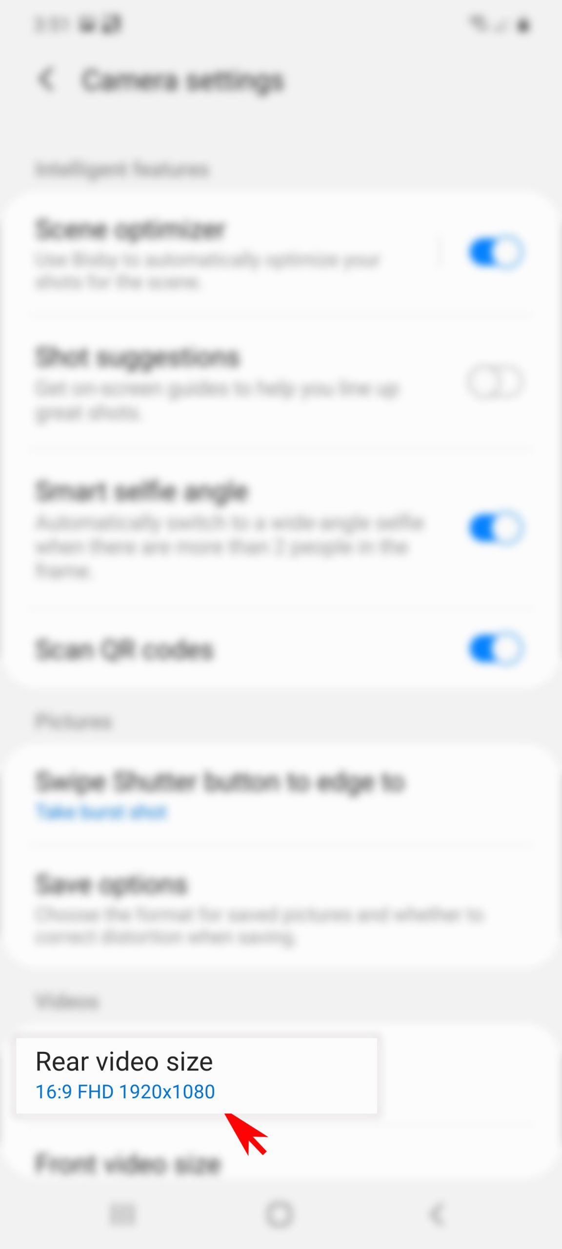 change file size of pictures and videos galaxy s20 - rear video file settings