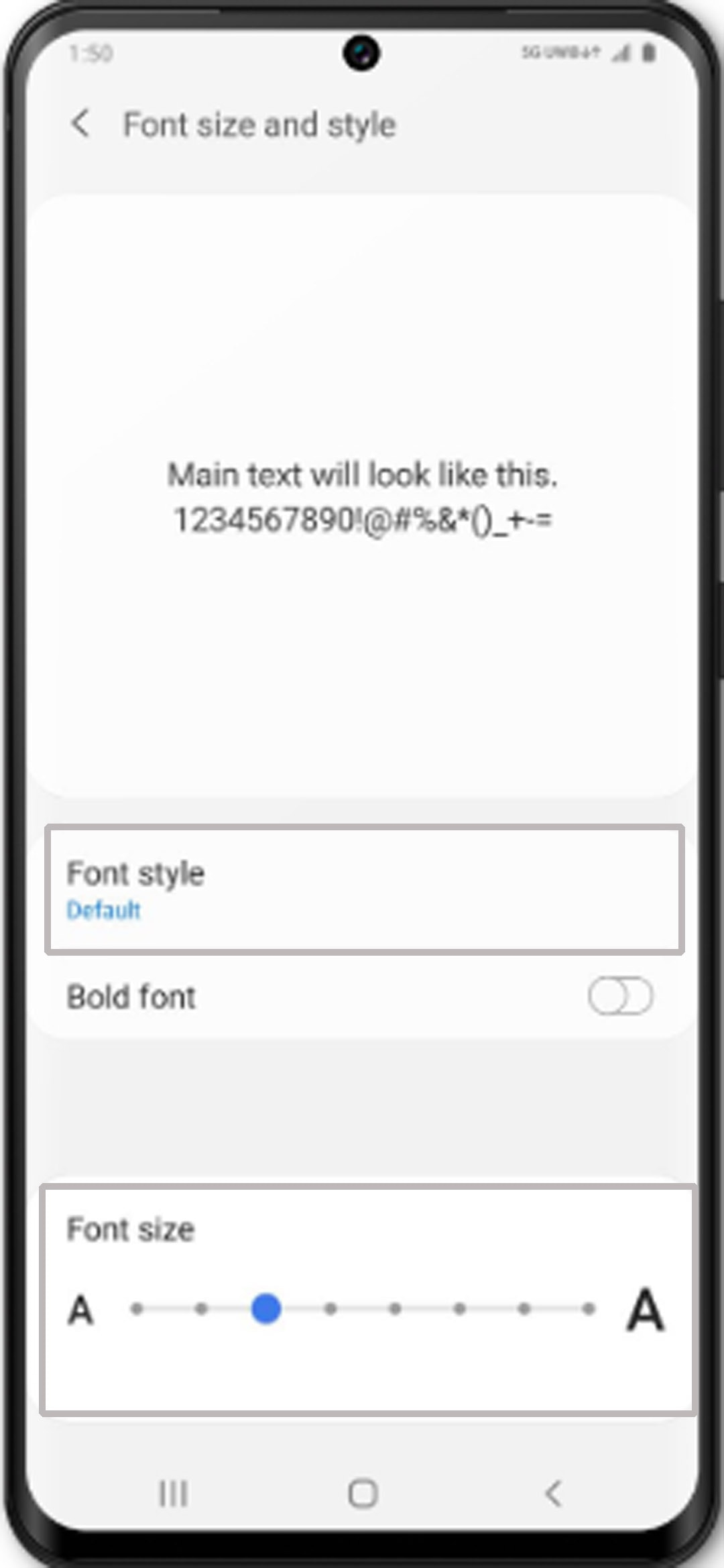 change galaxy s20 font size and style - adjust font size and style