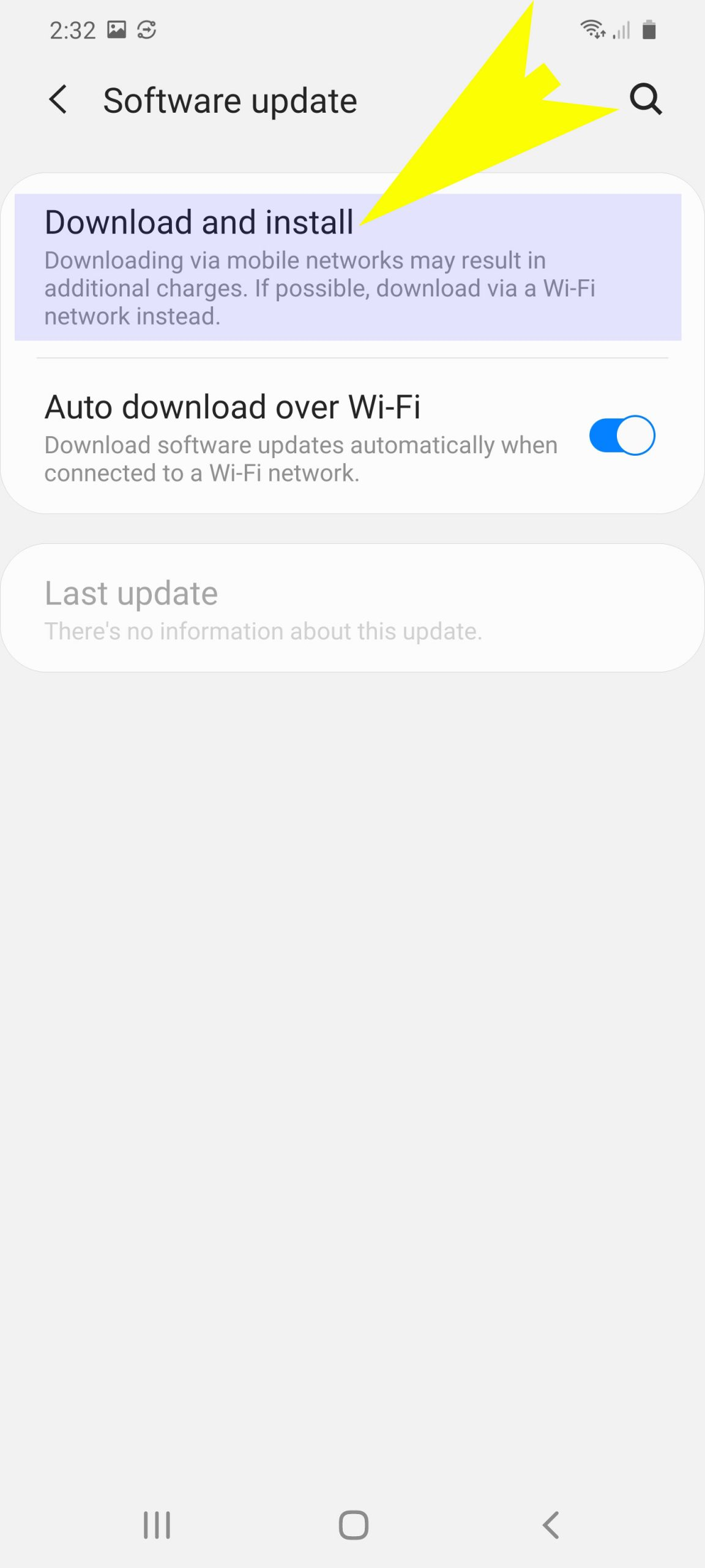 check and install system updates on galaxy s20 - download and install