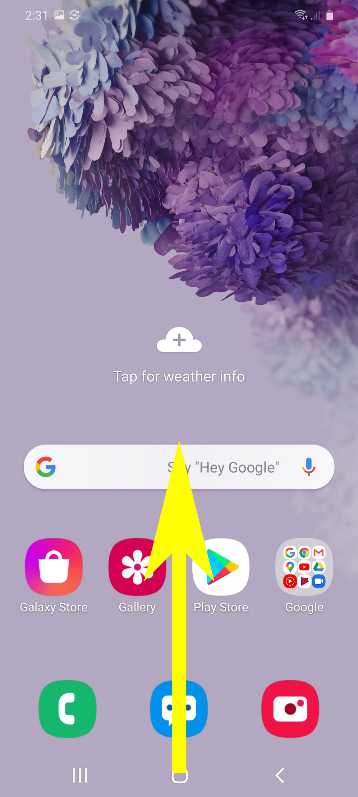 check and install system updates on galaxy s20 - open apps screen