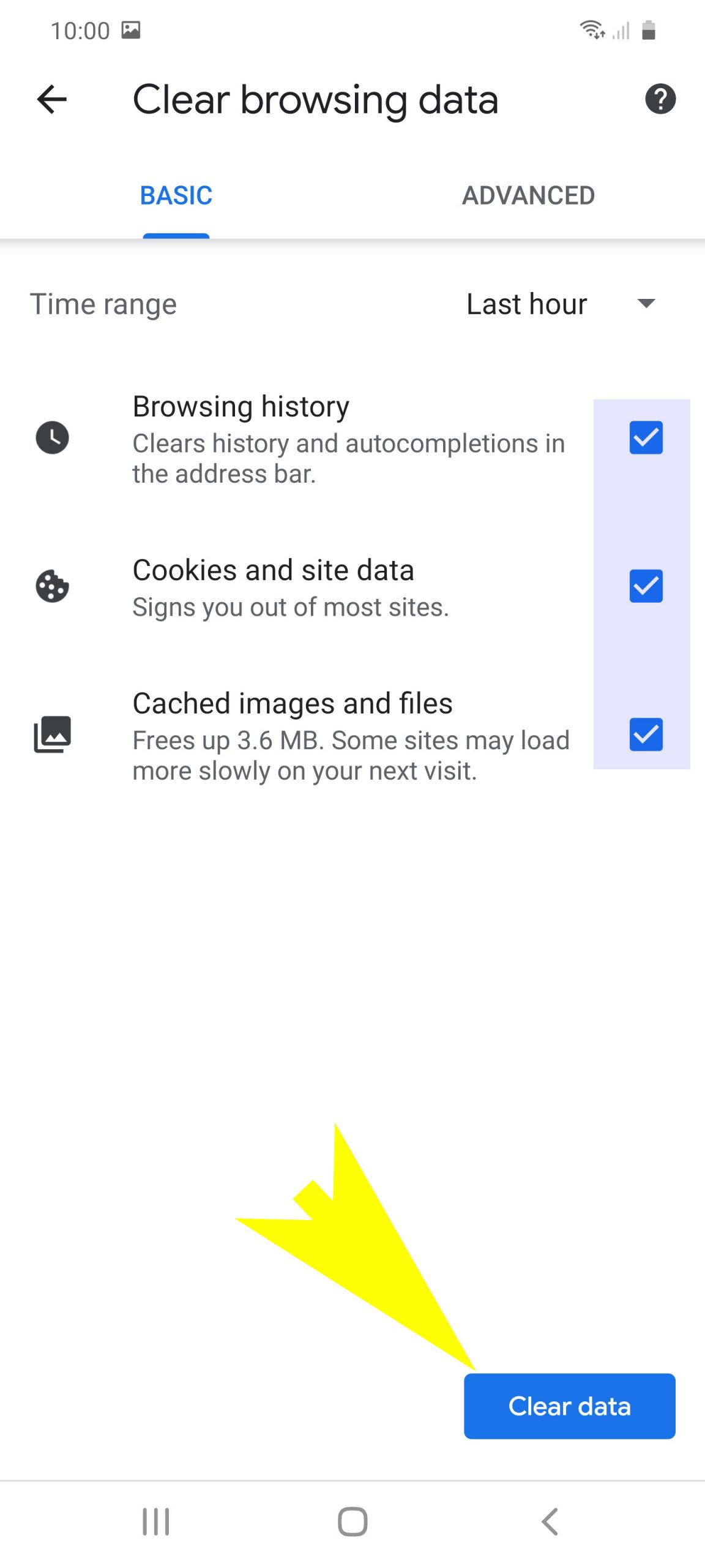 clear browsing data on galaxy s20 chrome - confirm clear data