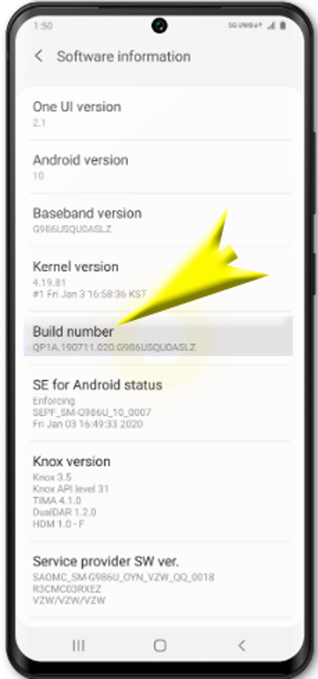 enable usb debugging on galaxy s20 - Build number
