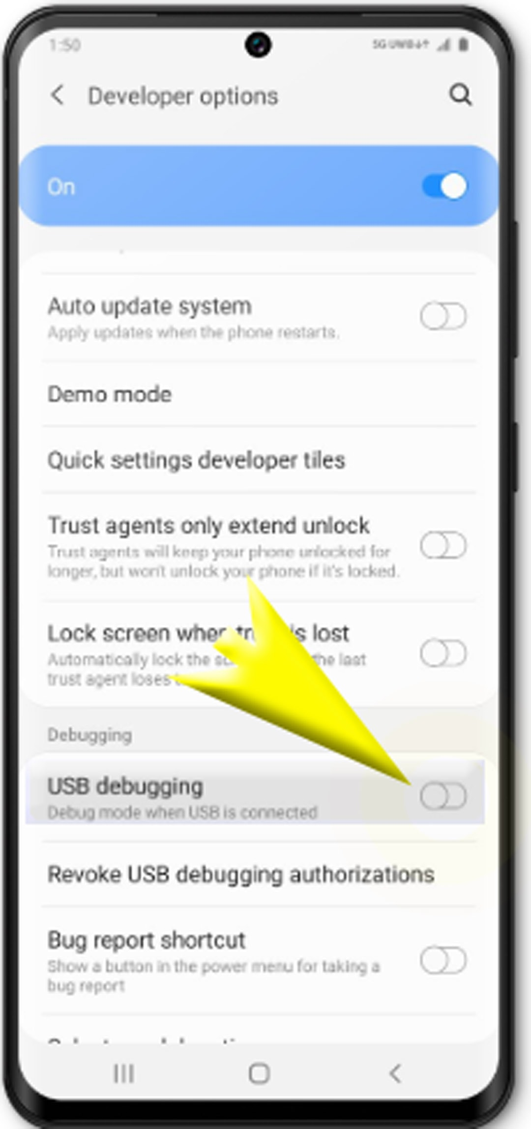 enable usb debugging on galaxy s20 - turn on usb debugging switch