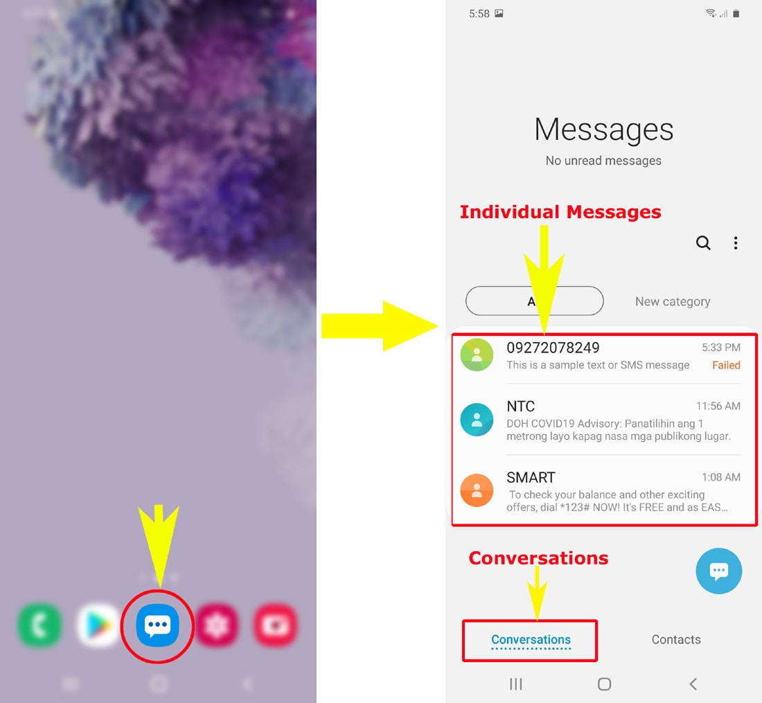 galaxy s20 cannot send text sms messages - delete messages conversations