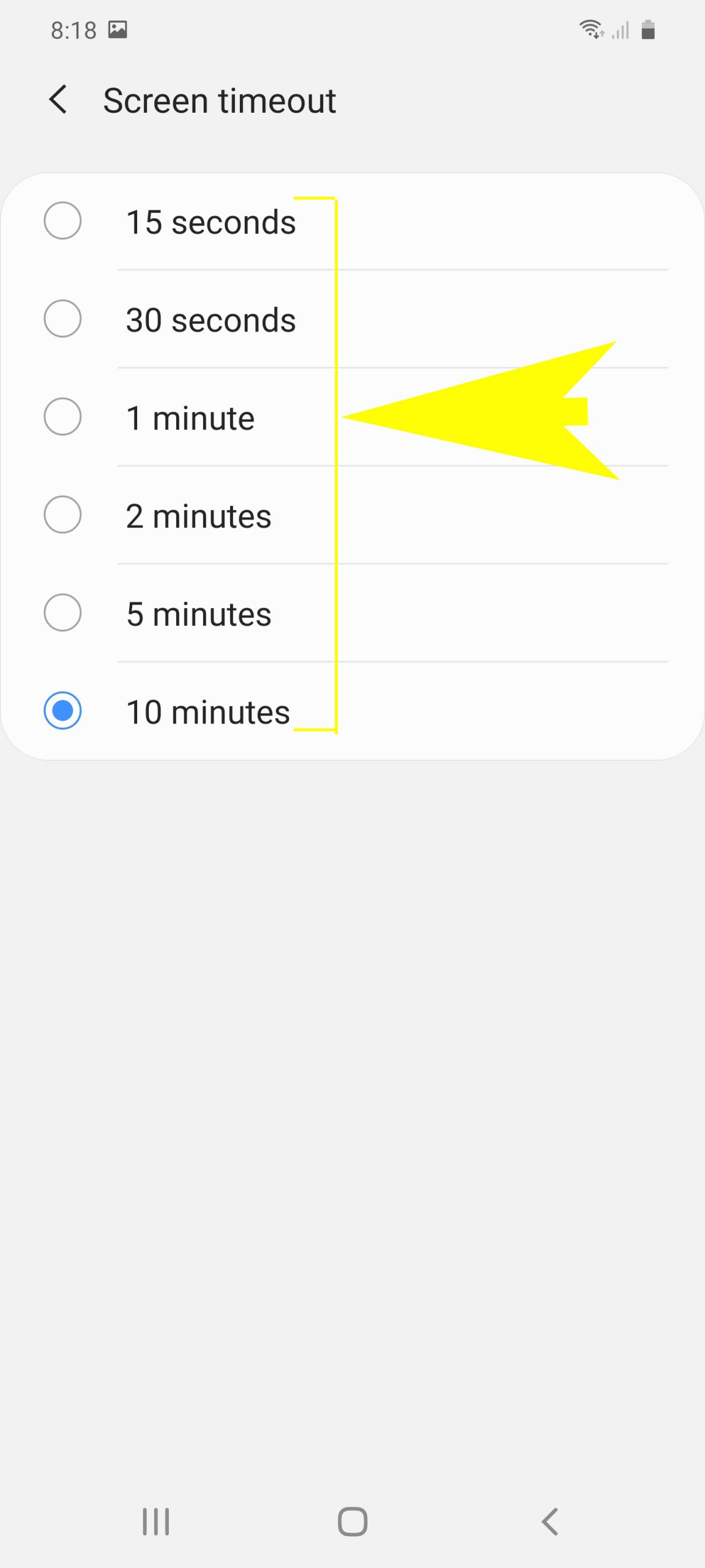 galaxy s20 screen timeout and brightness - idle time