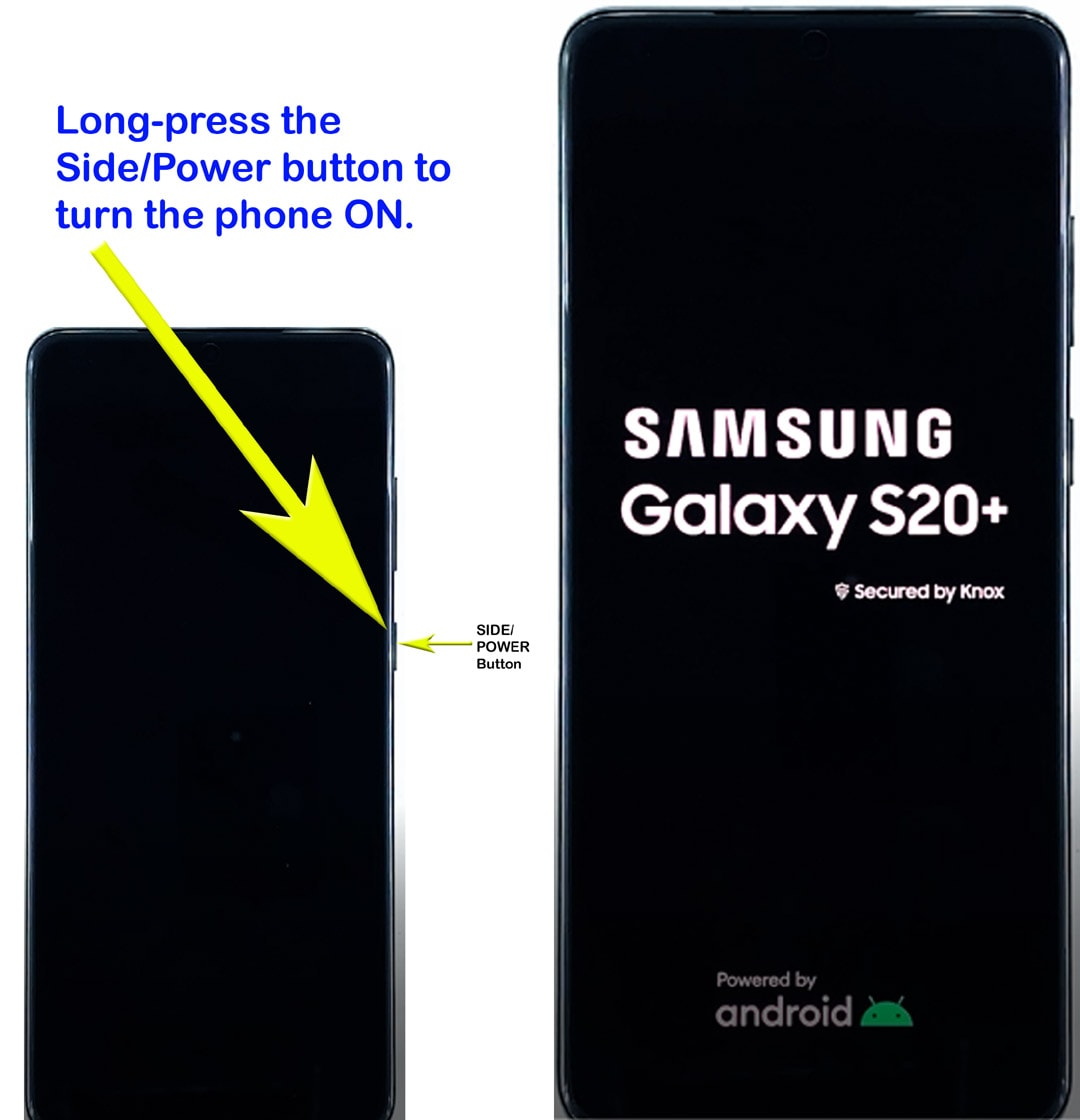 set up galaxy s20 - press power to turn on