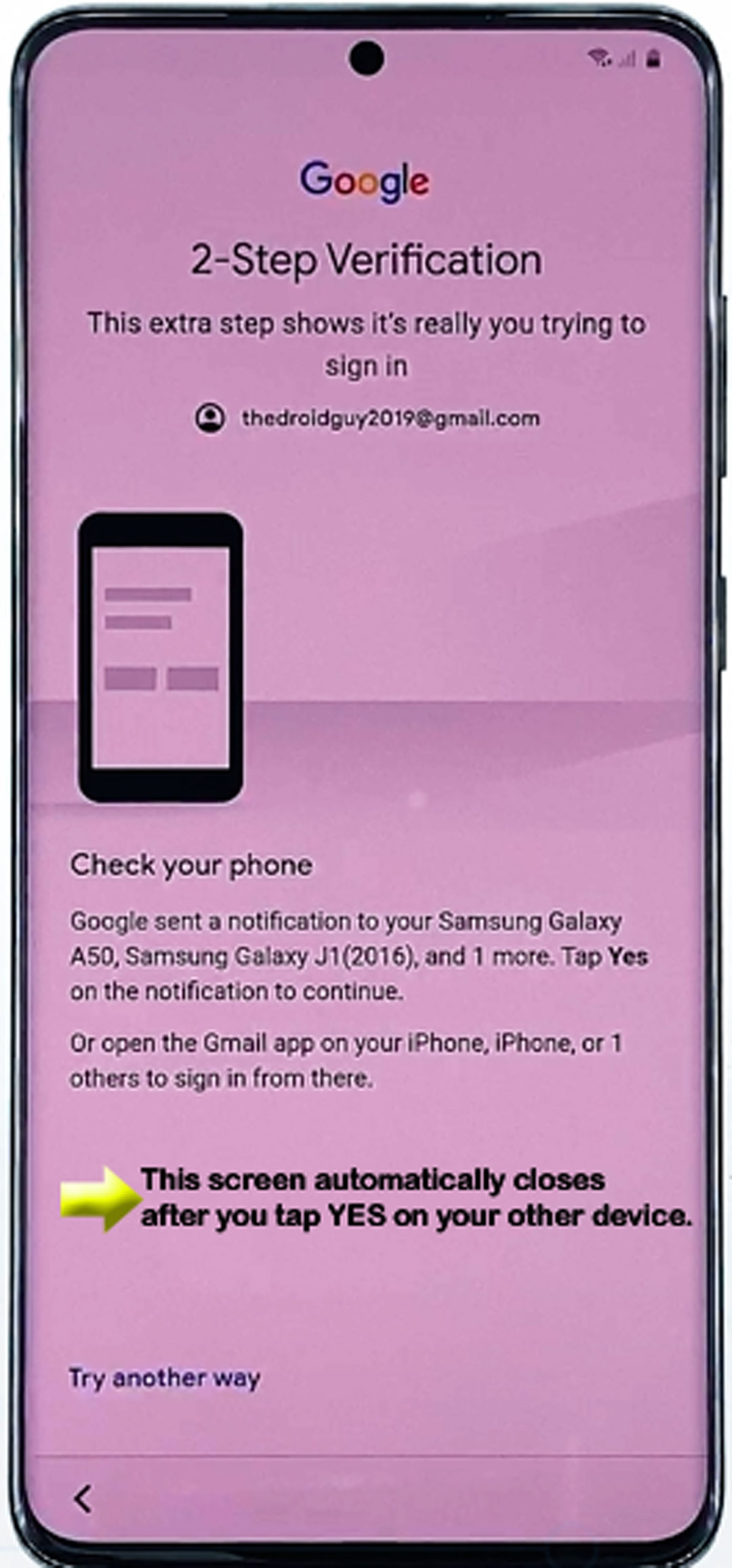 set up galaxy s20 - two-step verification screen