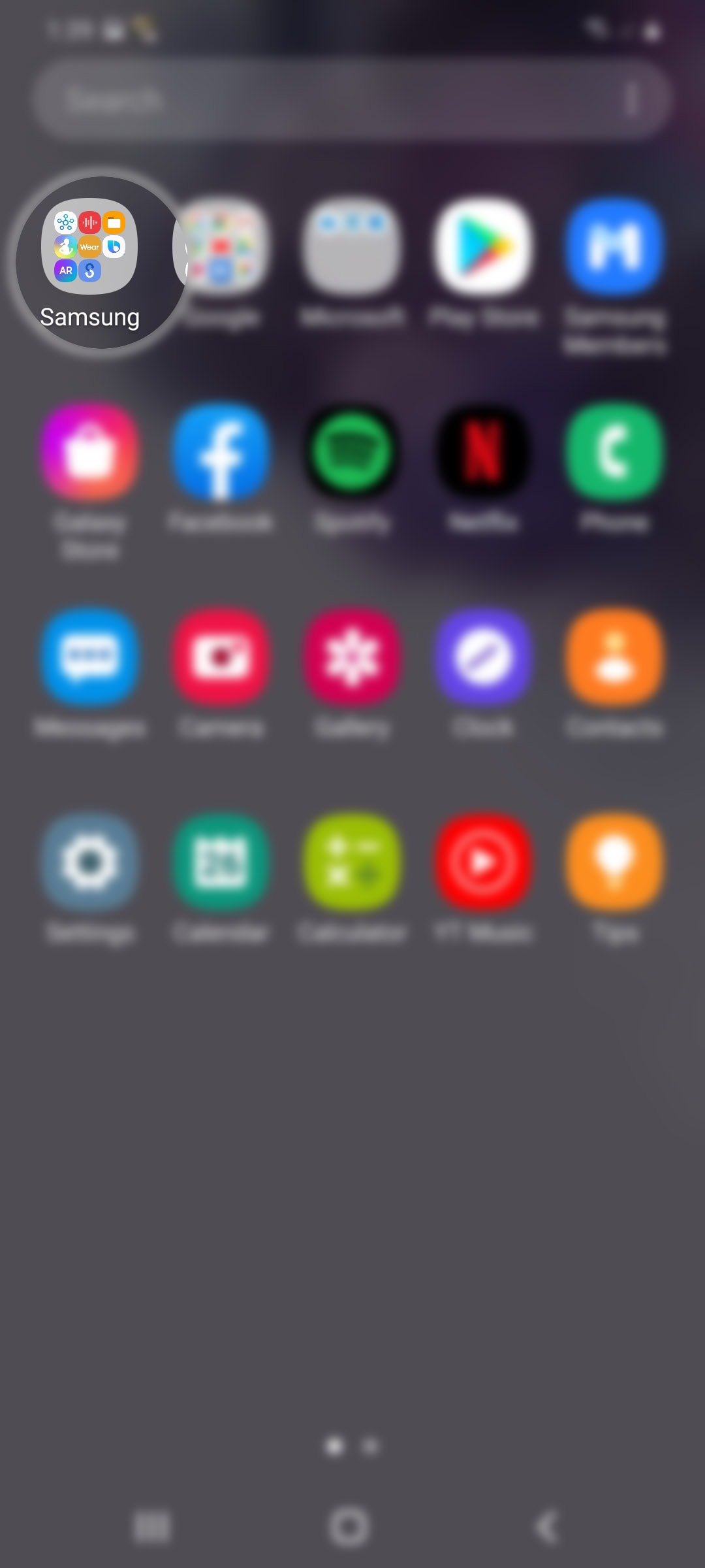 set up samsung health profile galaxy s20 - open samsung app