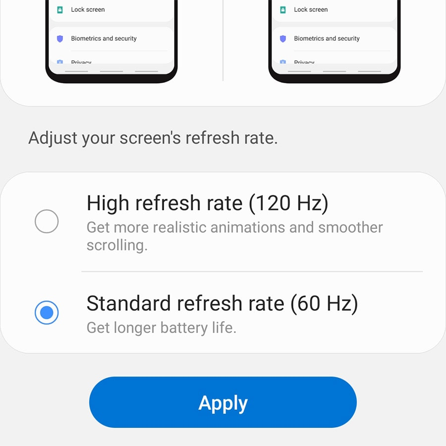 change galaxy s20 refresh rate