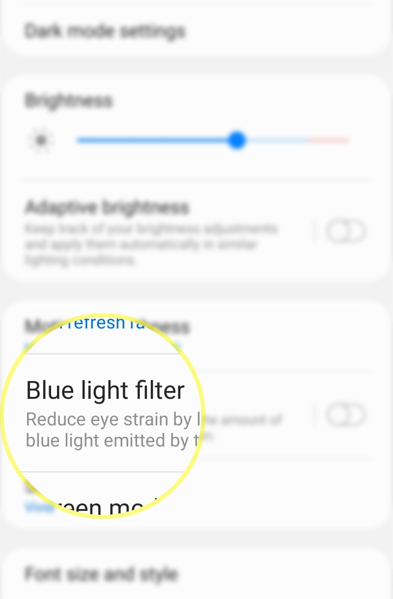 activate galaxy s20 blue light filter - blf