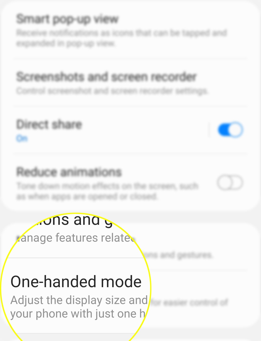 activate galaxy s20 one-handed mode - turn on switch