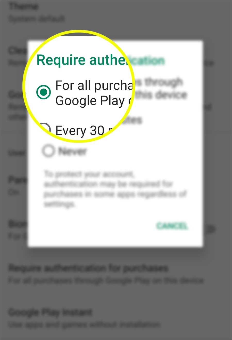 authenticate galaxy s20 play store purchases - enable authentication