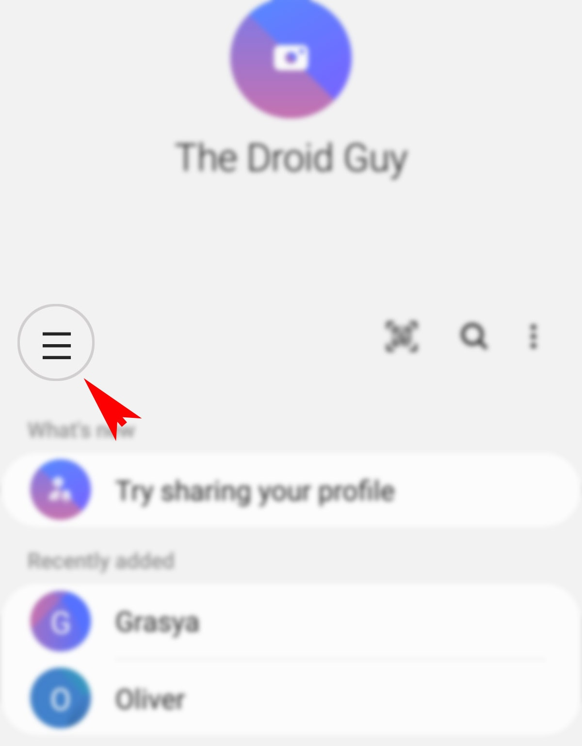 create a group contact on galaxy s20 - contacts menu icon