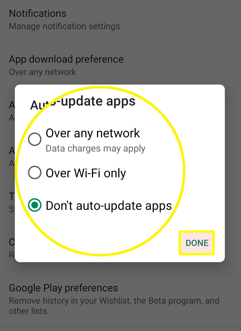 enable disable automatic app updates s20 play store - update methods