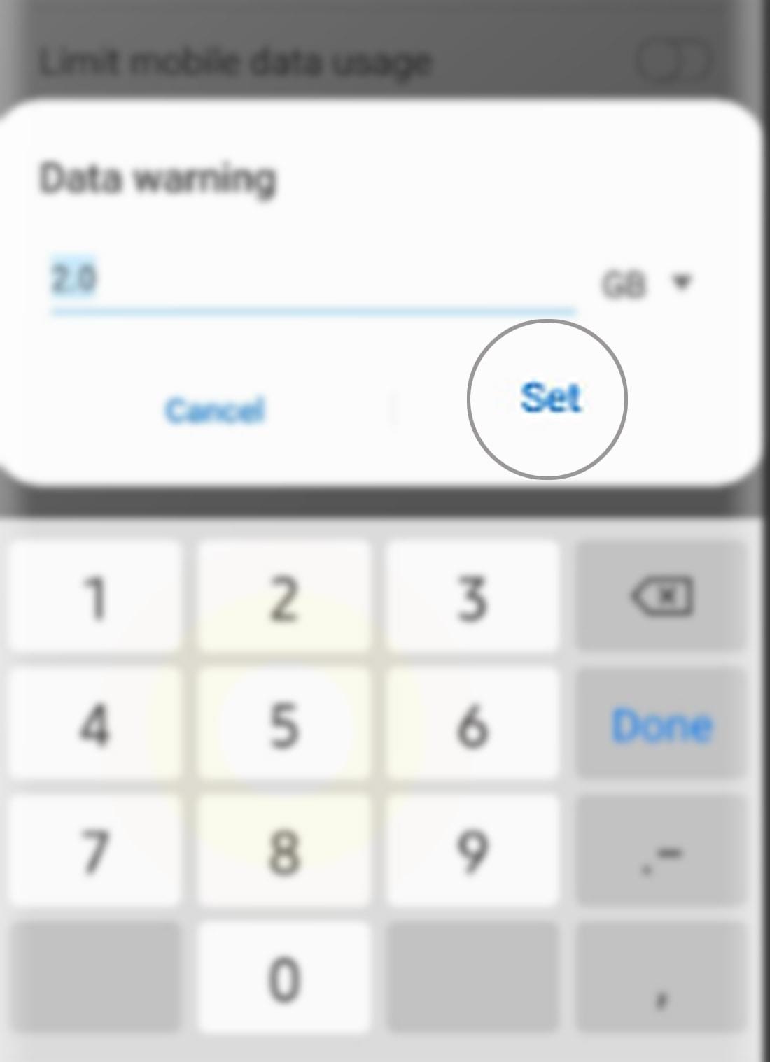 manage data usage galaxy s20 - change data warning