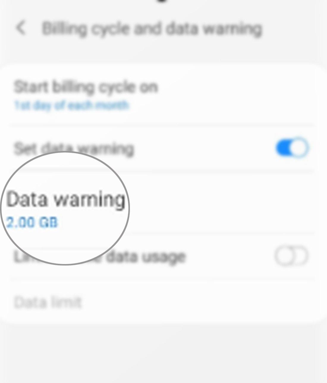 manage data usage galaxy s20 - data warning