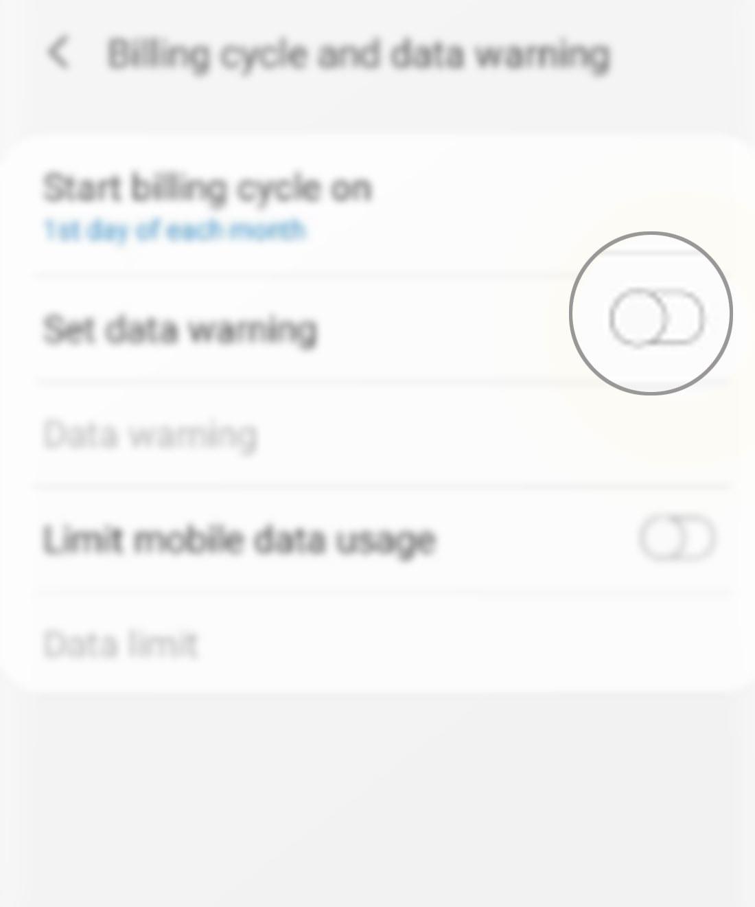 manage data usage galaxy s20 - set data warning