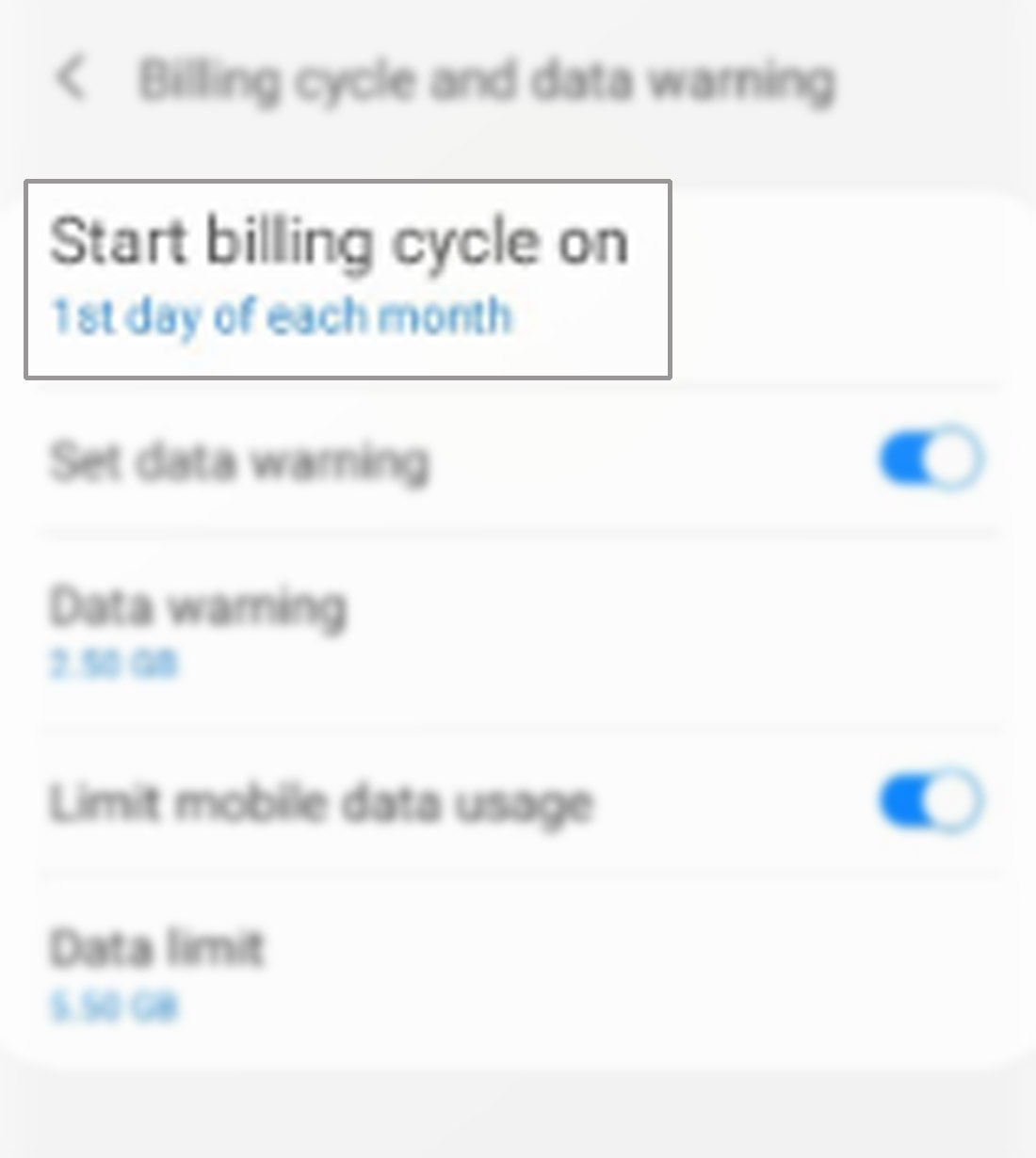manage data usage galaxy s20 - start billing cycle on