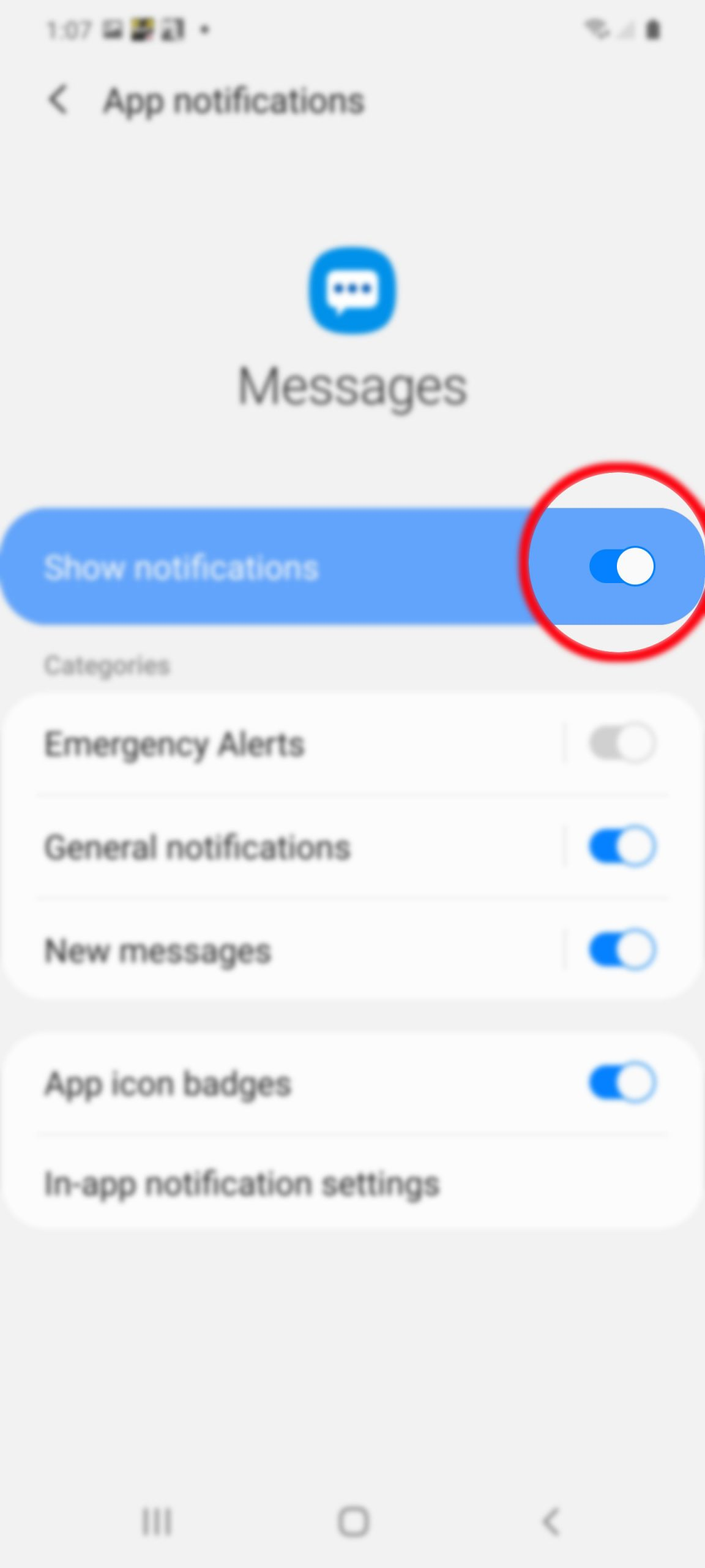 set up text notification on galaxy s20 - enable show notifications