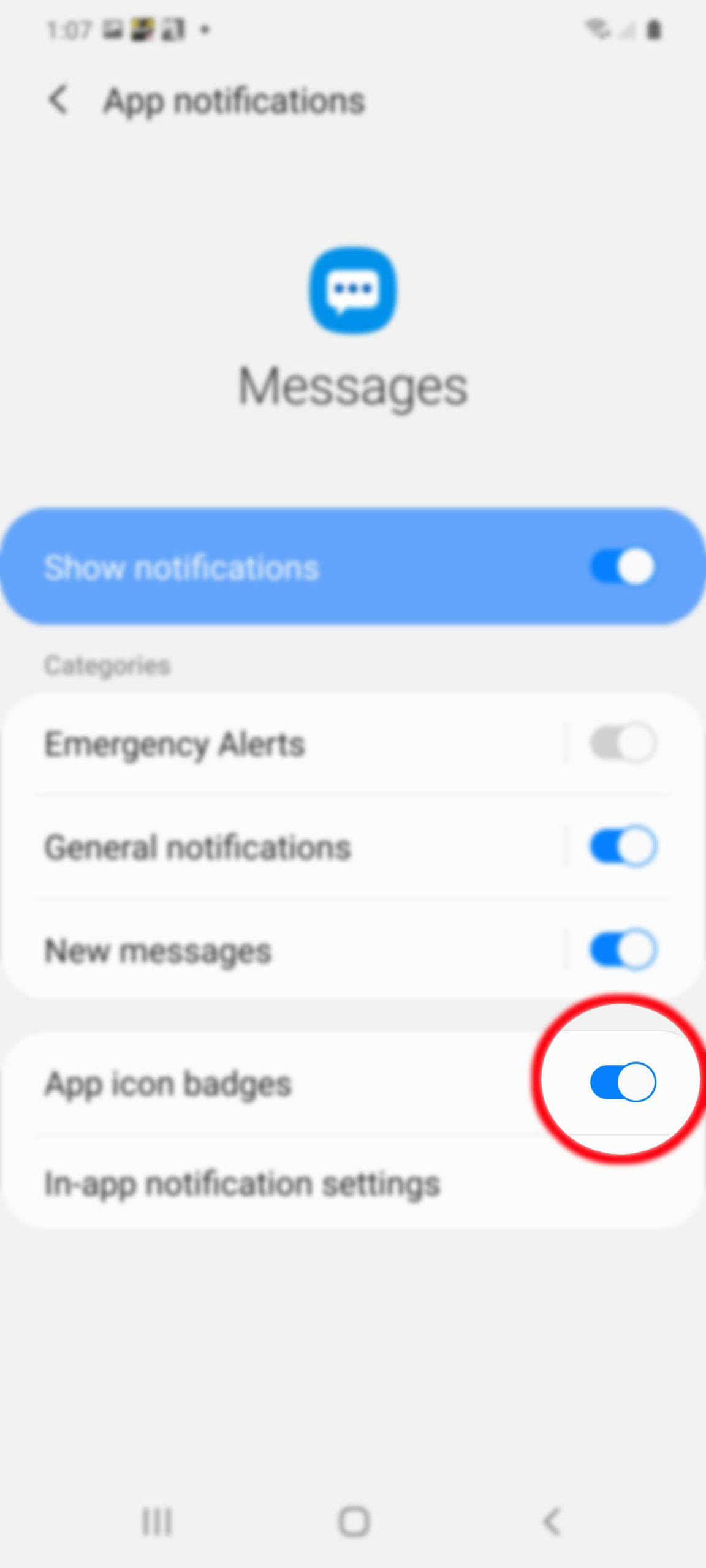 set up text notification on galaxy s20 - messages app icon badge