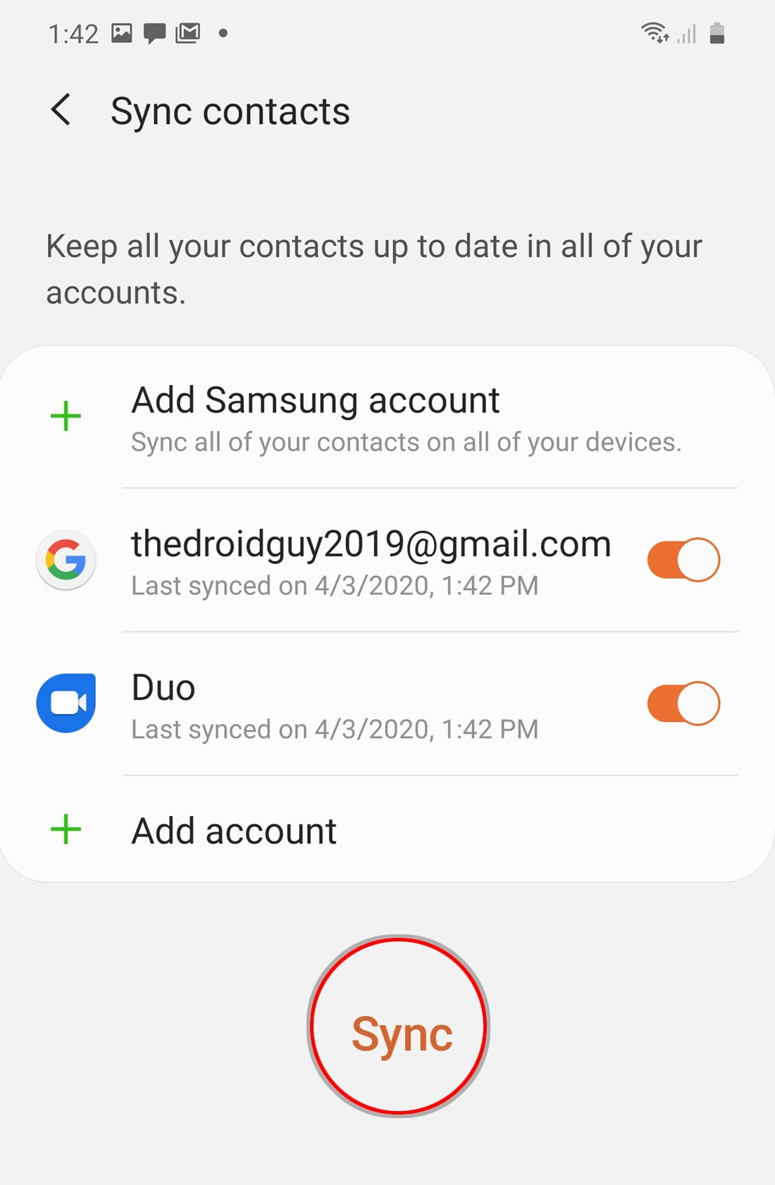 sync account contacts on galaxy s20 - confirm sync account contacts