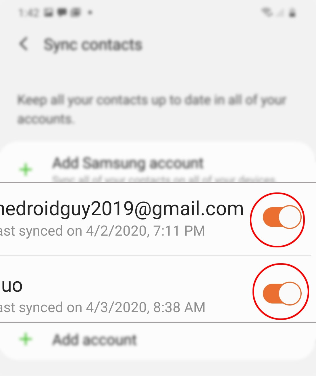 sync account contacts on galaxy s20 - select account contacts to sync