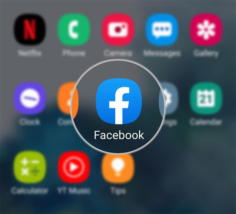 activate facebook face recognition galaxy s20 - launch app