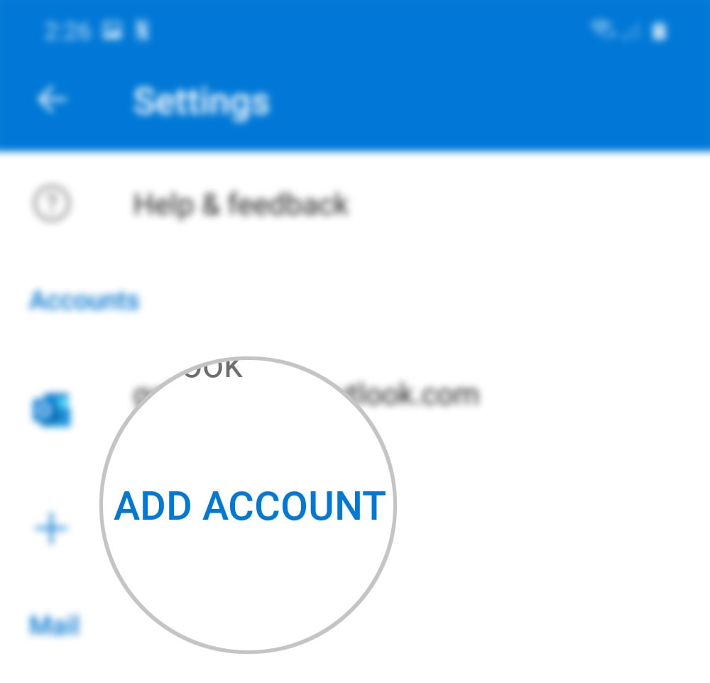 add outlook account to outlook galaxy s20 - add account