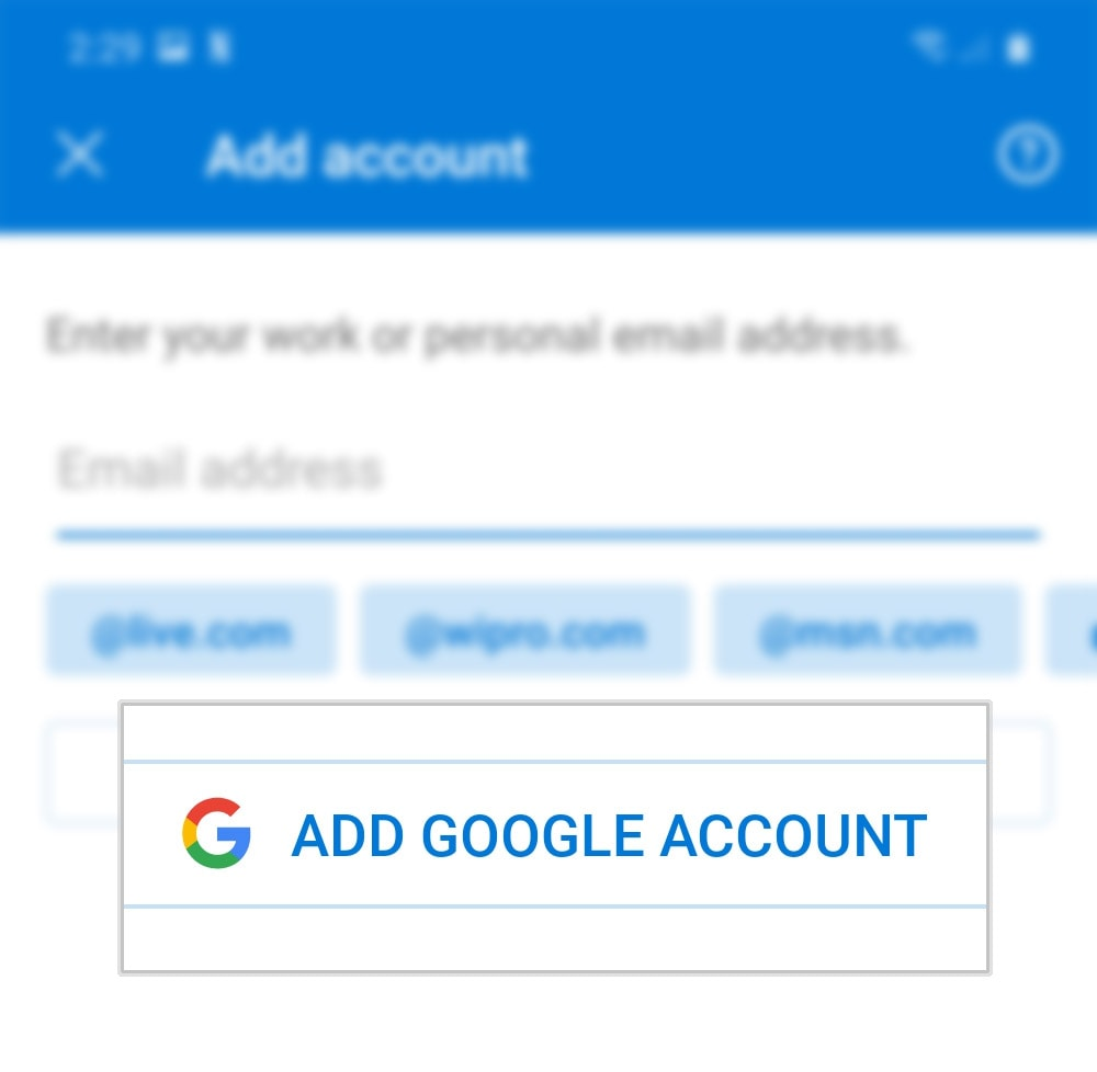 add outlook account to outlook galaxy s20 - add google