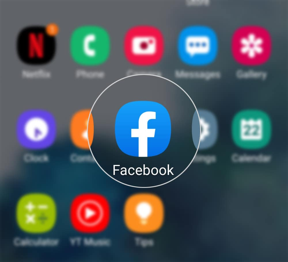 add remove phone number on facebook galaxy s20 - open fb app
