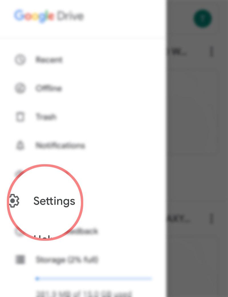 clear google drive cache galaxy s20 - drive settings
