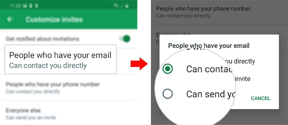 customize hangouts invites on galaxy s20 - cust1