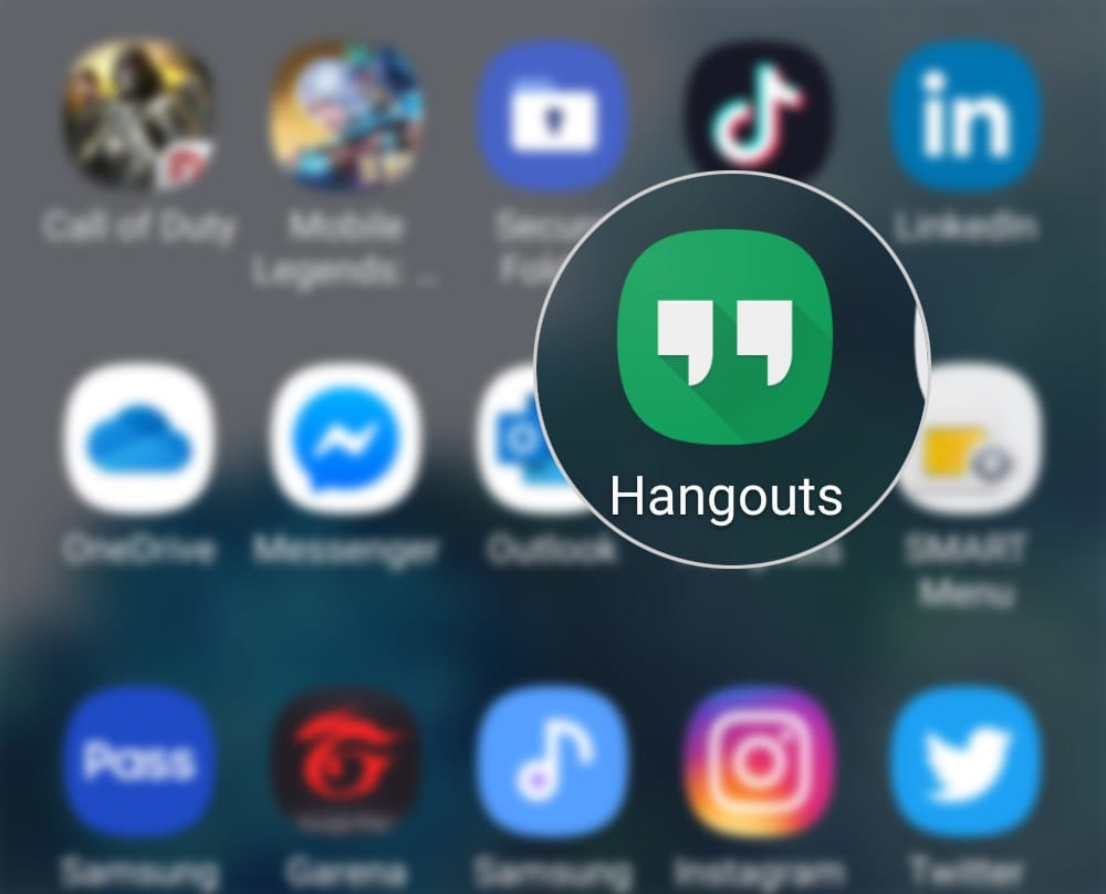 customize hangouts invites on galaxy s20 - open hangouts