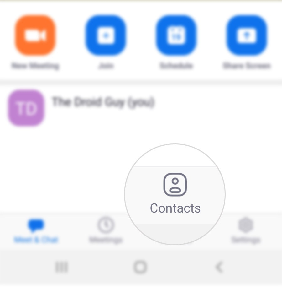 invite people to a zoom meeting galaxy s20 - contacts