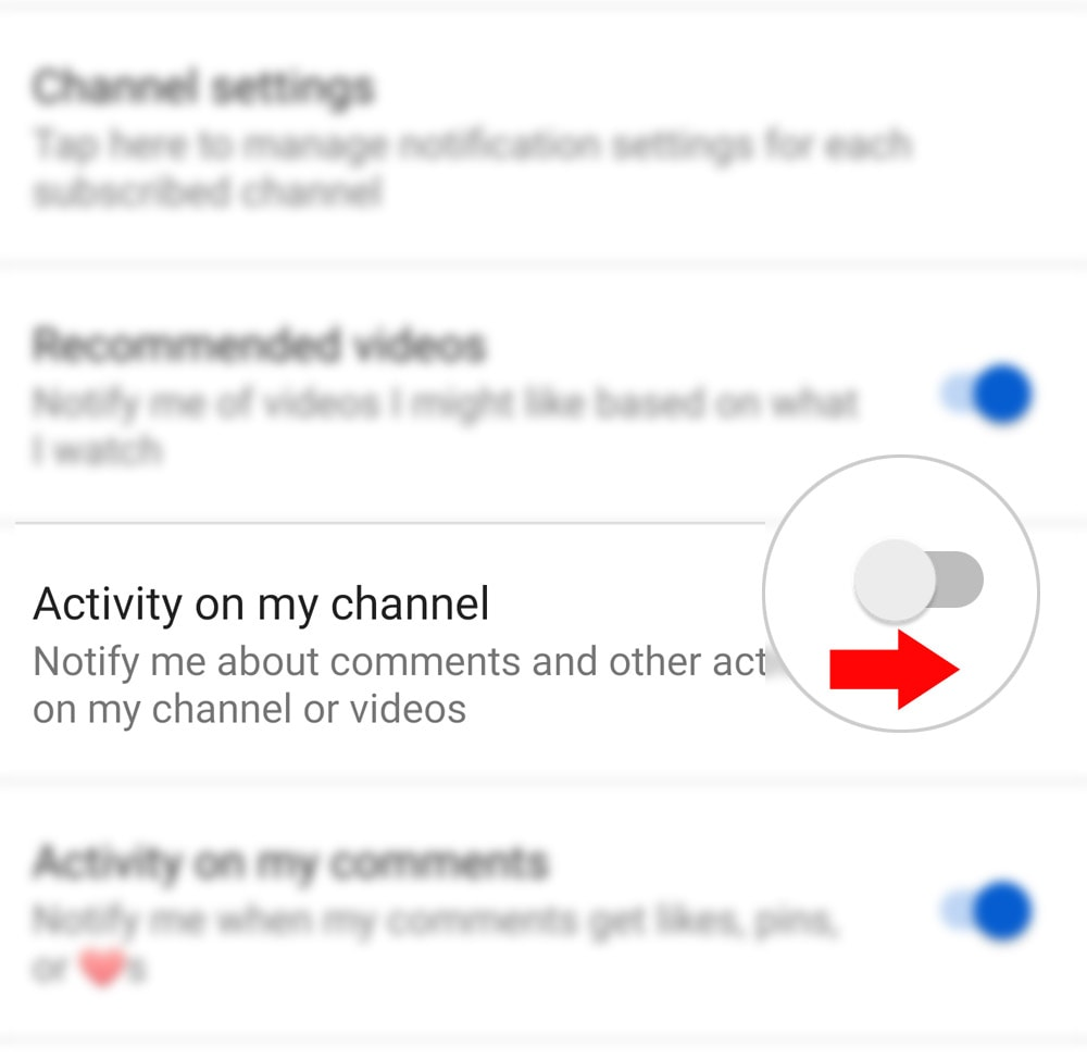 manage youtube channel notifications galaxy s20-actchan2
