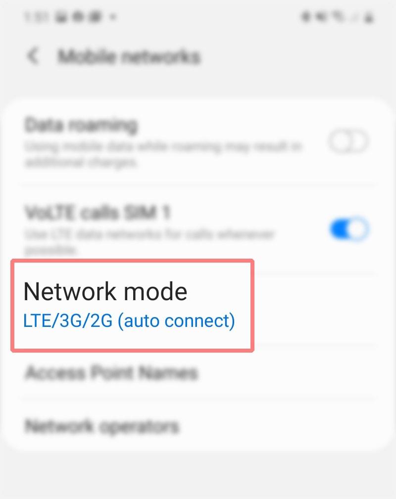 manually change galaxy s20 network mode - netmod
