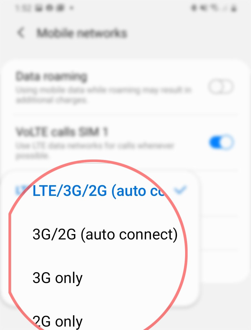 manually change galaxy s20 network mode - network options