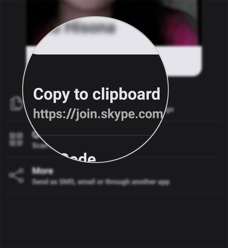 share skype profile on galaxy s20 - copy to clipboard