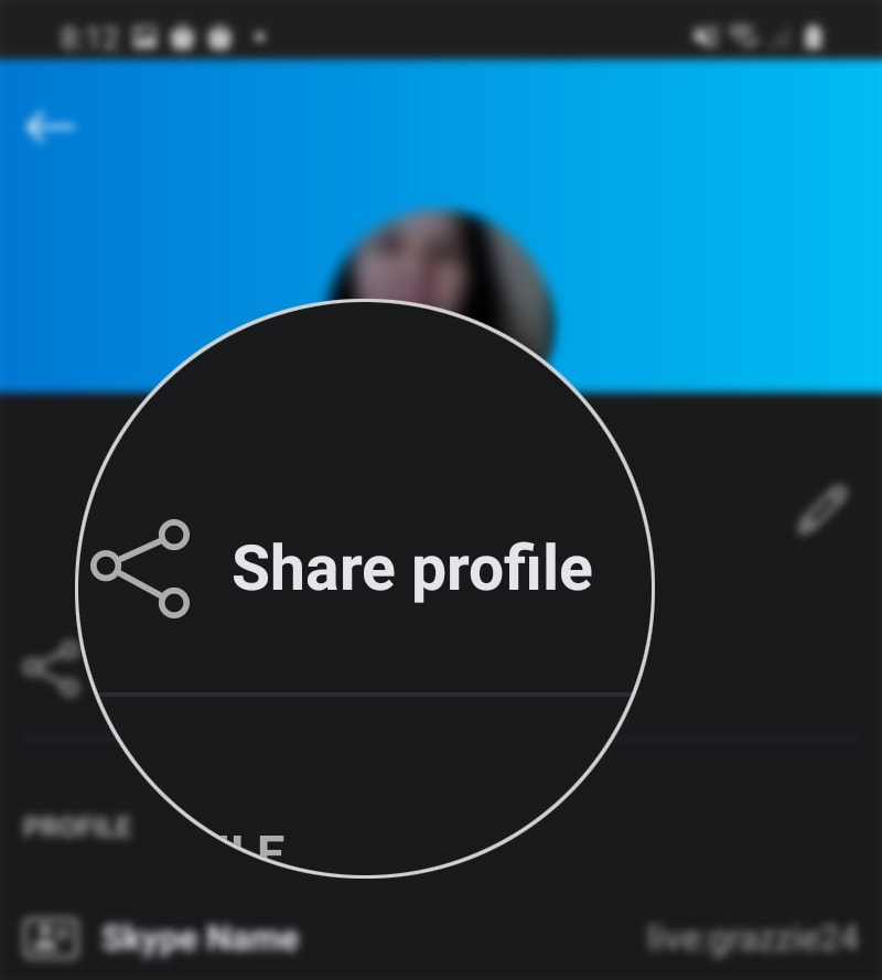 share skype profile on galaxy s20 - share