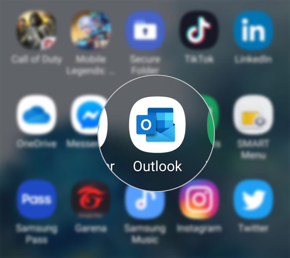 sync outlook with facebook calendar on galaxy s20 - open outlook