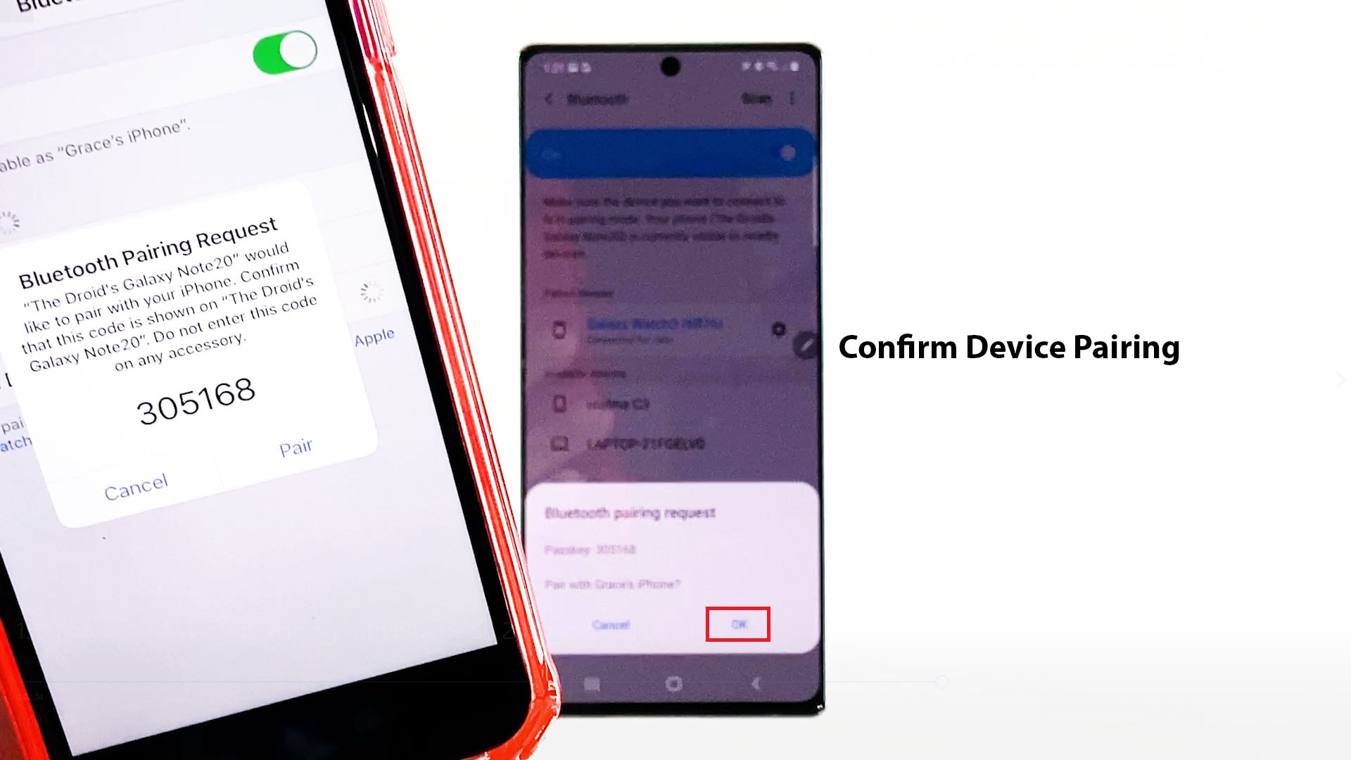 bluetooth pairing galaxy note 20 and iphone-confirm