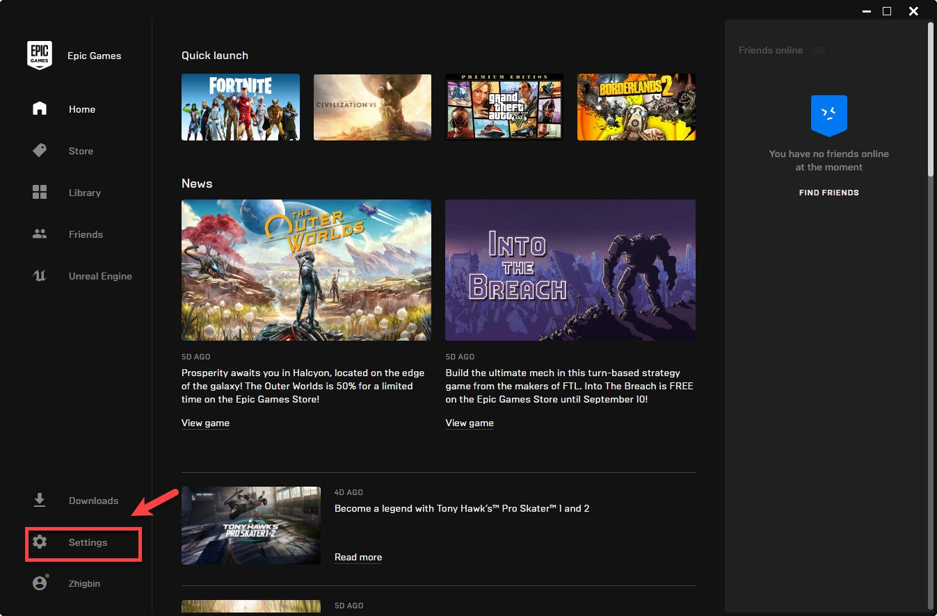 can't find your games in the  Epic Games Launcher library