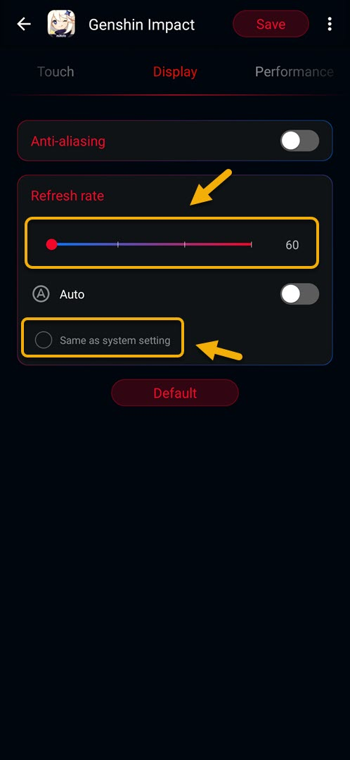 choose a refresh rate