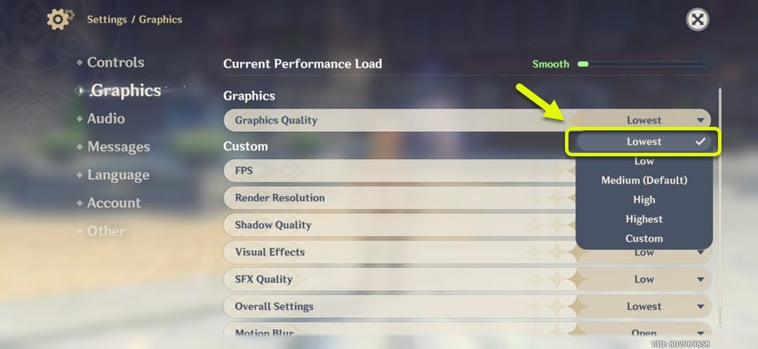 change graphics quality to lowest