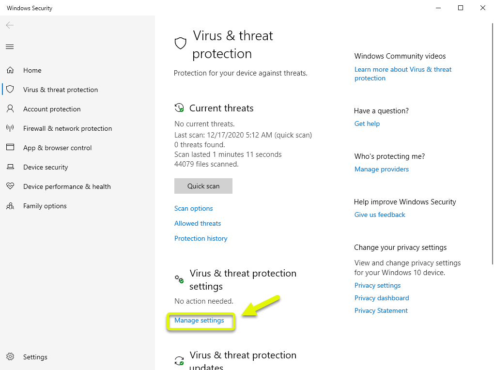 click manage settings