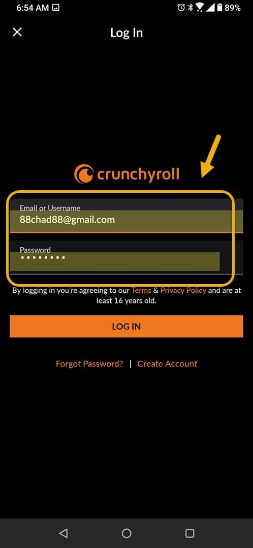 log in to account