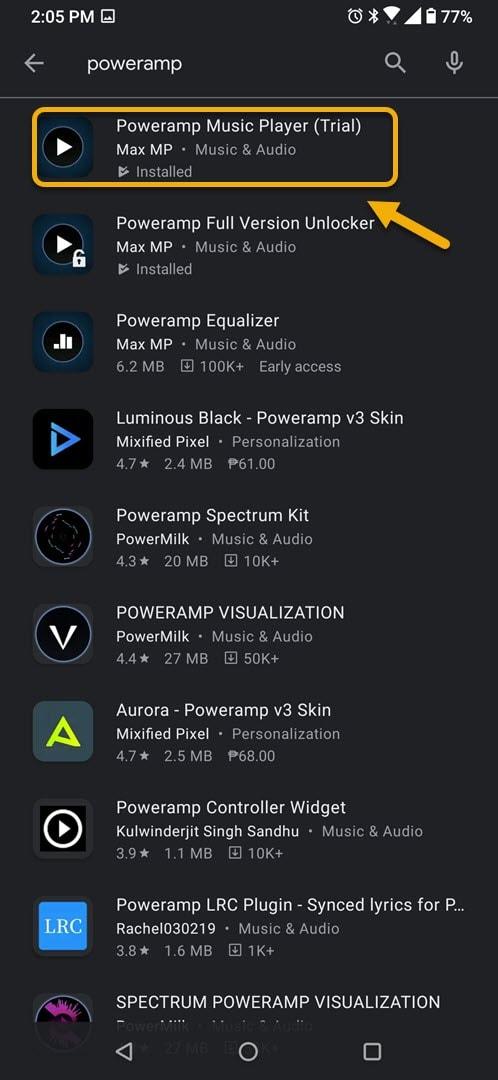 open poweramp music player trial